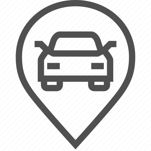 auto, car, drive, passenger, pin, road, sign icon