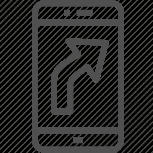 arrow, course, direction, gps, mobile, navigator, way icon