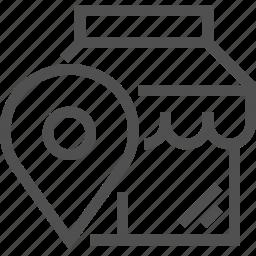 boutique, gps, locator, pin, pointer, shop, store icon