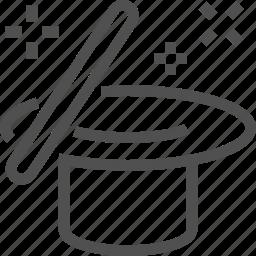 cylinder, focus, hat, magic, sorcery, stick, wand icon