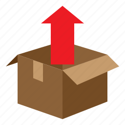 arrow, box, boxing, package, packaging, parcel, unpack icon