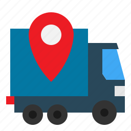 box, check, delivering, package, pickup, pin, shipping icon