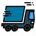 cargo, delivering, fire, immediately, lightning, package, service icon