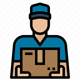 container, courier, delivering, mailman, man, package, service icon