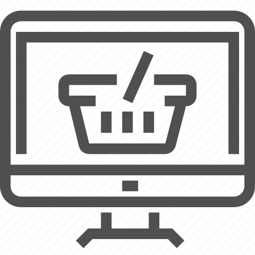 basket, computer, display, e-commerce, online, order, shop icon