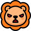 angry, emoji, emotion, expression, face, feeling, lion icon