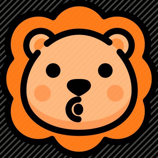 blowing, emoji, emotion, expression, face, feeling, lion icon