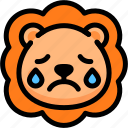 cry, emoji, emotion, expression, face, feeling, lion icon
