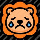 cry, emoji, emotion, expression, face, feeling, lion icon