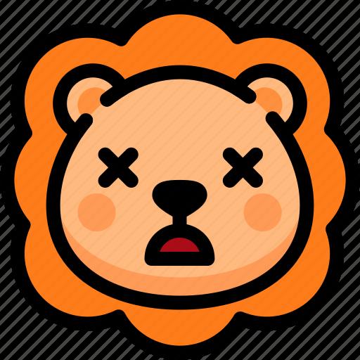 dead, emoji, emotion, expression, face, feeling, lion icon