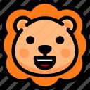 emoji, emotion, expression, face, feeling, happy, lion icon