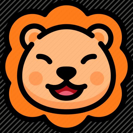 emoji, emotion, expression, face, feeling, laughing, lion icon