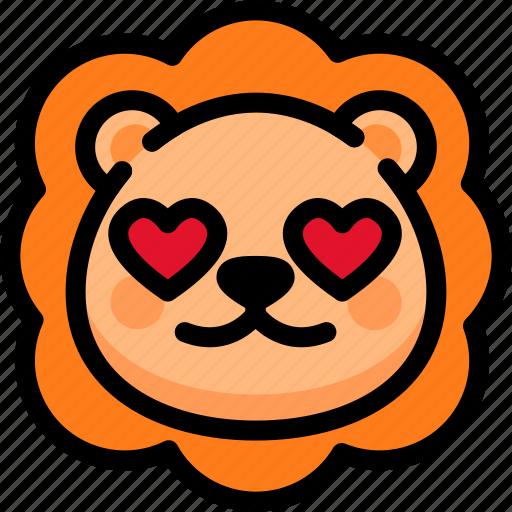 emoji, emotion, expression, face, feeling, lion, love icon