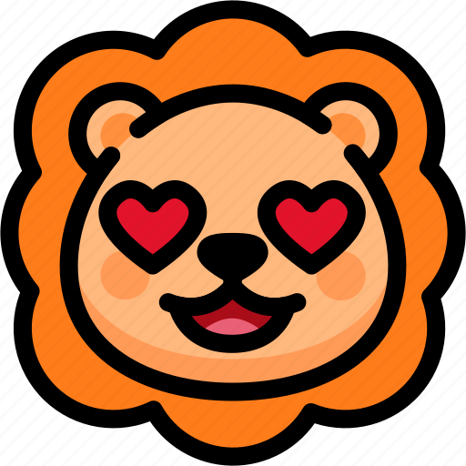 emoji, emotion, expression, face, feeling, lion, love icon