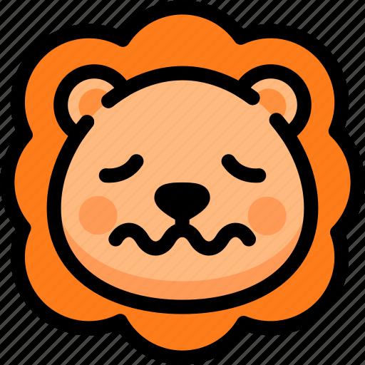 emoji, emotion, expression, face, feeling, lion, nervous icon
