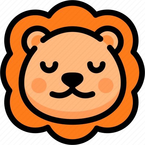 emoji, emotion, expression, face, feeling, lion, peace icon
