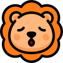 emoji, emotion, expression, face, feeling, lion, relax icon