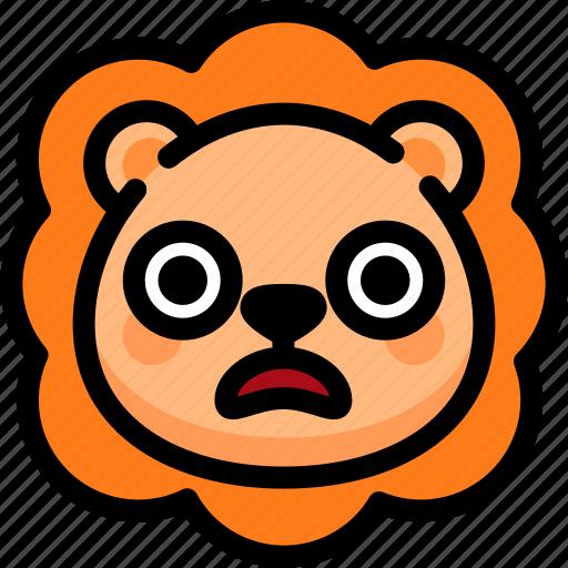 emoji, emotion, expression, face, feeling, lion, shocked icon