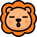 emoji, emotion, expression, face, feeling, lion, sleeping icon