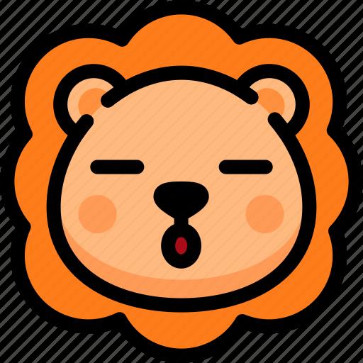 emoji, emotion, expression, face, feeling, lion, sleeping icon