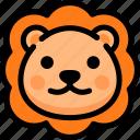 emoji, emotion, expression, face, feeling, lion, smile icon