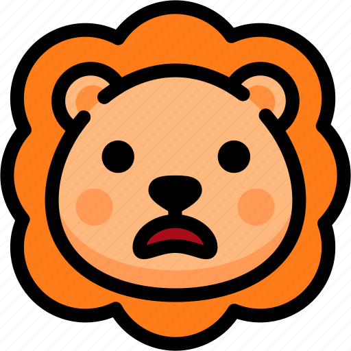 emoji, emotion, expression, face, feeling, lion, stunning icon