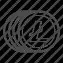 bill, cash, coin, litecoin, money icon