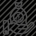 bill, cash, litecoin, money, savings icon