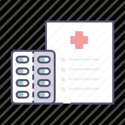 document, drugs, list, pills, prescription, recipe, treatment icon