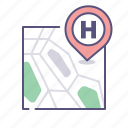 address, hospital, map, pin icon