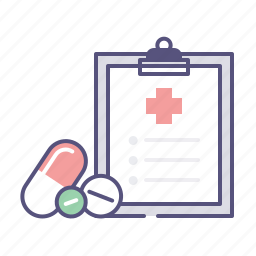 clipboard, drug, health, pills, pillule, prescription, treatment icon