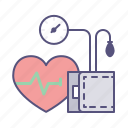 blood pressure, cuff, healthcare, heart, medical supplies, rate, tonometer icon