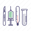scalpel, surgery, syringe, thermometer icon