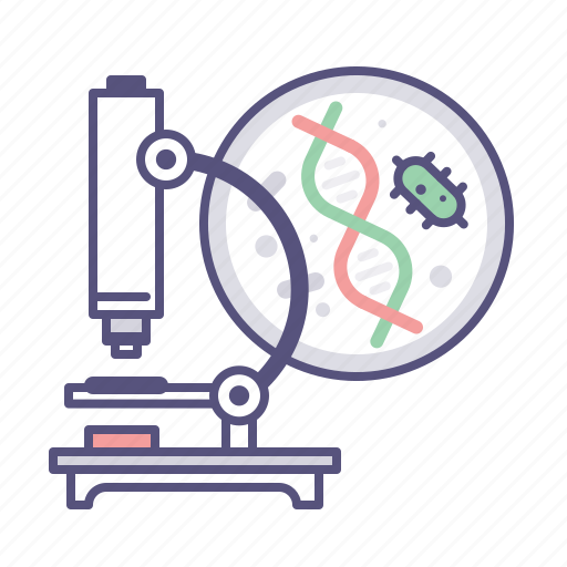 bacteria, dna, laboratory, microscope, reseach icon