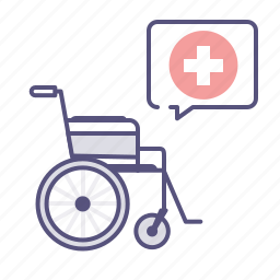 care, disability, handicap, health, medical, message bubble, wheelchair icon
