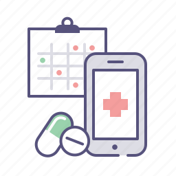 app, calendar, drugs, mobile, pills, prescription, schedule icon