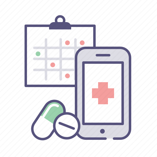 calendar, drugs, mobile, schedule icon