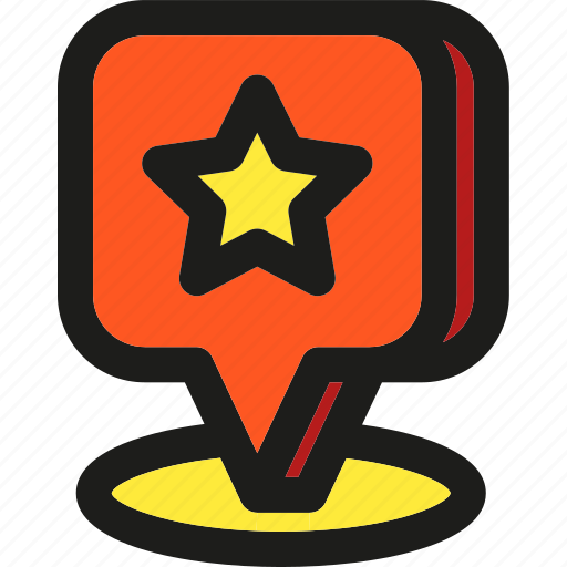 arrows, direction, location, marker, pointer, starred icon