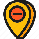 arrow, gps, marker, pin, place, pointer, remove icon