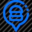 bubble, food, hamburger, location, marker, pin, restaurant icon