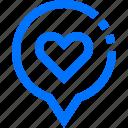 bubble, heart, location, love, marker, navigation, pin icon