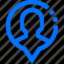 avatar, bubble, human, location, navigation, pin, user icon