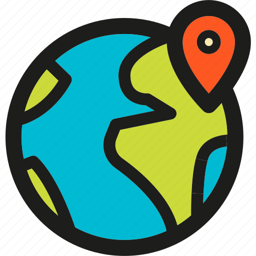 earth, globe, location, marker, on, place, planet icon