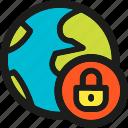 earth, lock, globe, password, protection, shield, world