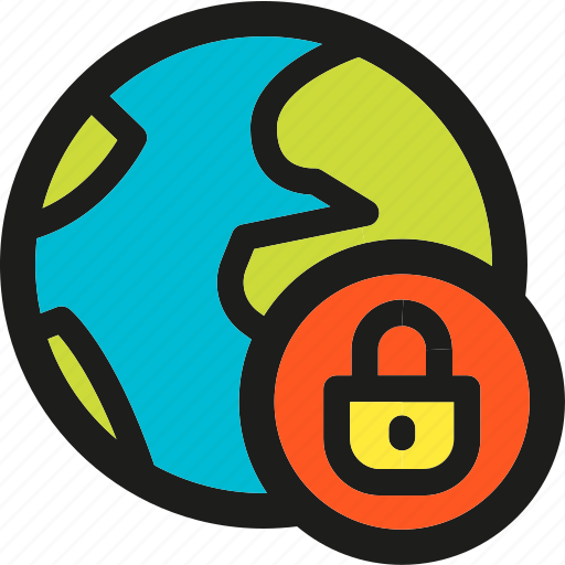 earth, globe, lock, password, protection, shield, world icon