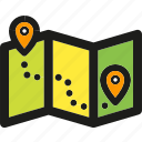 arrow, arrows, down, gps, map, pointer, route icon