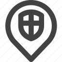 location, protect, security, shield icon