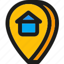 direction, home, house, location, map, pin, pointer icon