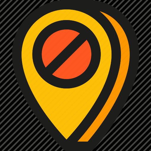 delete, location, navigation, no, pin, place, remove icon