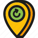 location, map, navigation, pin, pointer, refresh, reload icon